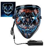 Halloween LED Light Up Mask Frightening Halloween Mask, Scary Cosplay LED Light up Masks for Gifts, (Blue)