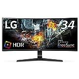 LG ゲーミング モニター 34GL750-B 34インチ/21:9 曲面 ウルトラワイド/IPS/144Hz/G-SYNC Compatible/HDR/DP×1,HDMI×2