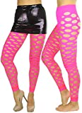 ToBeInStyle Women's Fishnet Slashed Leggings W/Footless Design - One Size - Hot Neon Pink