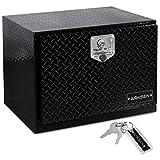 ARKSEN 24 Inch Durable Aluminum Diamond Plate Tool Box Pickup Truck ATV Durable Underbody Trailer Storage Lock W/Key, Black