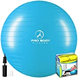 ProBody Pilates Ball Exercise Ball Yoga Ball, Multiple Sizes Stability Ball Chair, Gym Grade Birthing Ball for Pregnancy, Fitness, Balance, and Physical Therapy (Teal, 45 cm)