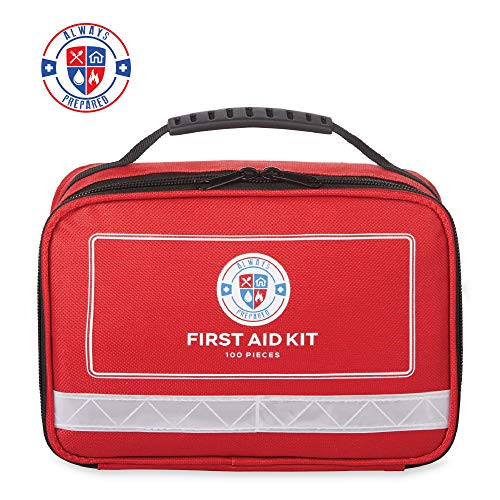 100 Piece Home First Aid Kit – Ultra Lightweight Compact First Aid Kit & Car First Aid Emergency Kit – Survival First Aid Kit for Camping, Hiking, Travel & Roadtrips – Gifts for New Car
