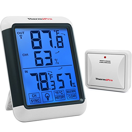 ThermoPro TP65A Indoor Outdoor Thermometer Digital Wireless Hygrometer Temperature and Humidity Monitor with Jumbo Backlight Touchscreen and Cold-Resistant Outdoor Thermometers, 200ft/60m Range