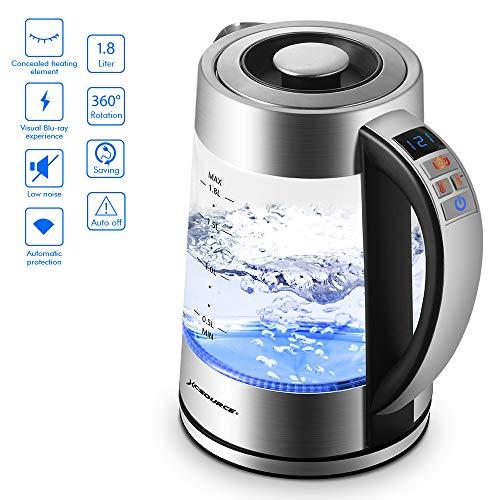 Bollitore Elettrico Caldaia di Vetro Acqua Calda e Caff Riscaldatore con Indicatore LED Blu...