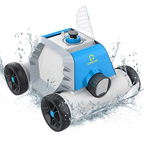 OT QOMOTOP Robotic Pool Cleaner, Cordless Automatic Pool Cleaner with 5000mAh Rechargeable Battery, 90 Mins Working Time, IPX8 Waterproof, Ideal for In-Ground/Above Ground Swimming Pool, Blue