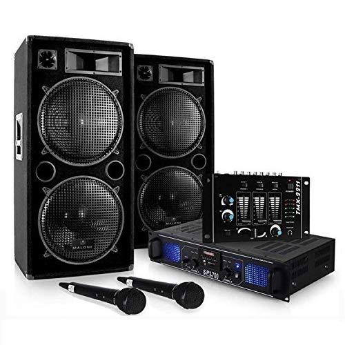 Set DJ'DJ-20.1' Amplificatore finale di potenza, Coppia di casse, mixer, microfono, karaoke (2000 Watt max, 3 linee AUX, USB ed SD, Radio FM)