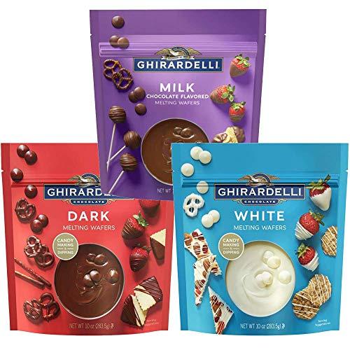 Ghirardelli Melting Wafers Bundle, Milk Chocolate, Dark Chocolate, White Chocolate, Set of 3-10oz each