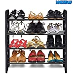 LookNSnap Iron and Plastic Foldable Shoe Rack with 4 Shelves