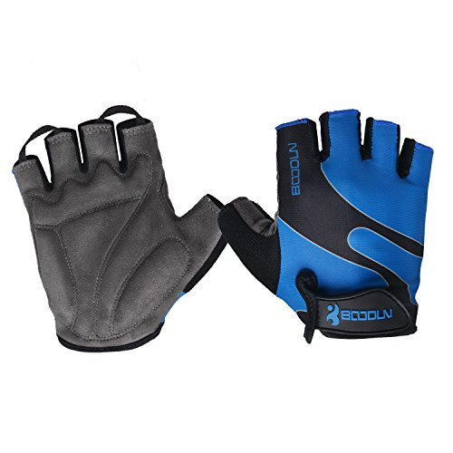 Alioth Star Cycling Gloves Men Women Half Finger Gel Padded Mountain Road Bicycle Race Breathable Summer Gloves (Black, L)