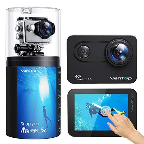 VanTop Action Cam 4K 60FPS Native con Touch Screen, Wifi 20MP, EIS Aggiornato, 2 Batterie Ricaricabili e Accessori Compatibili con Gopro
