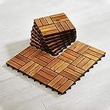 Hardwood Interlocking Patio Deck Tiles (Pack of 10, 12' x 12'), Acacia Wood Deck Tiles Interlocking Outdoor, Patio Tiles Outdoor Interlocking Waterproof All Weather(12Slat-Natural Color)