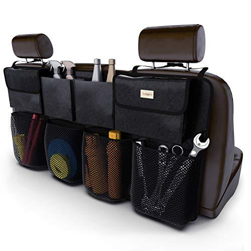 SURDOCA® Auto Organizer Kofferraum - 3rd Gen [doppelte Kapazität] Organizer Auto, ausgestattet mit [Starkes elastisches Netz & 4 Zauberstabstruktur ] kofferraumtasche, autotasche kofferraumtasche