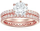 Rose-Gold Plated Sterling Silver Round Ring Set made with Swarovski Zirconia (1 Carat Center Stone),...
