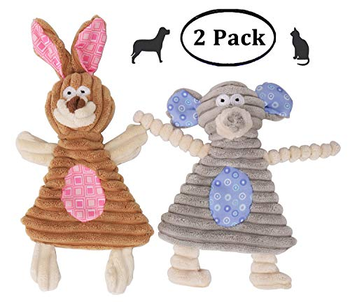 Comtim No Stuffing Dog Toys with Squeaker, Durable Dog chew Toys No Stuffing Squeaky Dog Toys for Small Dogs and Puppies, Rabbit & Elephant