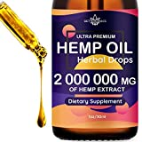 Hemp Oil Extract 2 000 000mg Immune System Support, For Pain, Insomnia, Stress, Anxiety Relief, Natural Dietary Supplement, Premium Quality, Improve Health, Provides Relaxation, Deep Sleep, Mood Boost