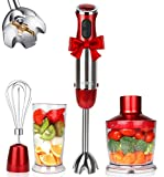 KOIOS 800W 4-in-1 Multifunctional Hand Immersion Blender, 12 Speed, 304 Stainless Steel Stick Blender, Titanium Plated, 600ml Mixing Beaker, 500ml Food Processor, Whisk Attachment, BPA-Free, Red