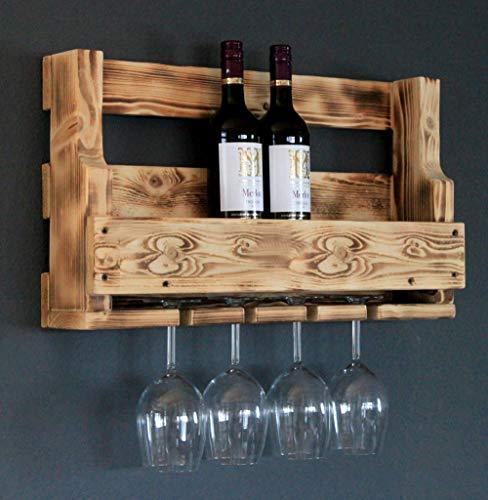 Dekorie Cantinetta in legno da parete con porta bicchieri fiammato gi montata Scaffale per bottiglie di vino e bicchieri di vino