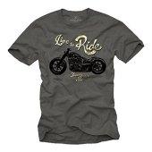 MAKAYA Ropa Moto Hombre - Camiseta con Mensaje Life TO Ride - Gris XL