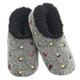 Snoozies Slippers for Women   Lotsa Dots Colorful Cozy Sherpa Slipper Socks   Womens House Slippers   Cozy Slippers for Women   Fuzzy Slippers   Black   Large
