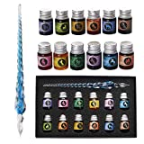 Verre Dip Lot de stylos - Stylo de calligraphie avec 12 plume en verre d'encre colorée pour l'art, l'écriture, la signature, la décoration, le cadeau GCGP-06