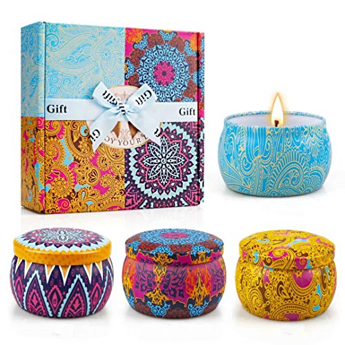 Yinuo Light Scented Candles Gifts Set for Women Aromatherapy Candles Stress Relief, Upgraded Large Tin of Soy Candle Scented Lavender Candle, Gifts for Mother's Day Birthday Anniversary Bath Yoga Home