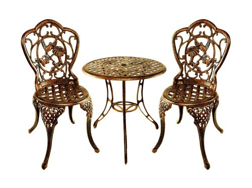 Oakland Living Hummingbird Cast Aluminum 24-Inch Glass Top Table with 3-Piece Bistro Set, Antique Bronze