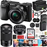 Sony Alpha a6000 Mirrorless Camera with 16-50mm and 55-210mm Power Zoom Lenses Bundle with 128GB Memory Card, 2X Battery, Bag, Professional Editing Suite, Camera Bag and 49mm Filter Kit