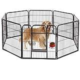 BestPet Pet Playpen 8 Panel Indoor Outdoor Folding Metal Protable Puppy Exercise Pen Dog Fence,24',32',40' (40', Black)