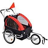 2-in-1 Double 2 Seat Bicycle Bike Trailer Jogger Stroller with Handle Bar and Wheels Bike Hitch Safety Flag, 20 Inch Wheel Size, Foldable Bike Wagon Trailer