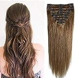 Extensiones de Clips de Pelo Natural Cabello Humano Liso 33cm Clips in Human Hair #04 Marrón Medio-...
