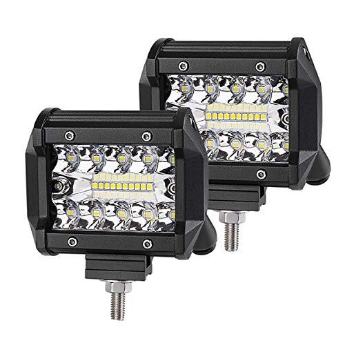 LED Pod Lights,4Inch 2PCS LED Flood Lights LED Pods Work Light Bar Driving Fog Lights Spot Beam Super Bright Cubes Lights Off-Road Truck Boat ATV SUV (10LEDs - 60W)