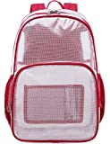 Mygreen Heavy Duty Clear Backpack Durable Multi-Pockets See Through Student School Bookbag Waterproof Transparent Beach Girls Travel Bag (Red, Large)