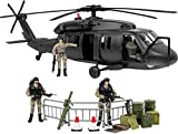 Click N' Play Military Black Hawk Attack Combat Helicopter 30Piece Play Set with Accessories
