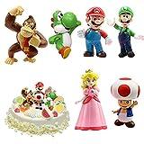 WELLXUNK® Super Mario Figures 6 pcs/Set Super Mario Toys, Figuras Super Mario Bros, Super Bros...