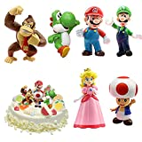 WELLXUNK Super Mario Toys Set, 6 pièces Super Mario Jouet, Mario Figure Jouets,...