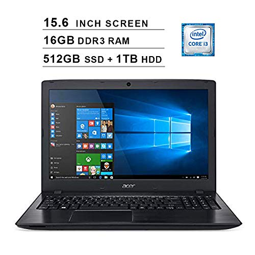 2020 Acer Aspire E5 15.6 Inch FHD Laptop (8th Gen Intel Core i3-8130U up to 3.4 GHz, 16GB RAM, 512GB SSD (Boot) + 1TB HDD, Intel UHD 620, DVD, WiFi, Bluetooth, HDMI, Windows 10 Home)