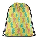 VFBGF Bolsas con cordón Bolsas y cestas de compras Bolsas de compras reutilizables Bolsas de gimnasia Bolsas deportivas Mochilas casuales Rock Pick Gym Bag Travel Drawstring Backpack Men & Women Sport