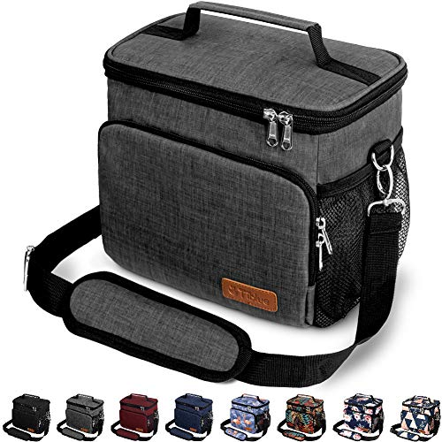 Insulated Lunch Bag for Women/Men - Reusable Lunch Box for Office Work School Picnic Beach - Leakproof Cooler Tote Bag Freezable Lunch Bag with Adjustable Shoulder Strap for Kids/Adult - Charcoal Grey