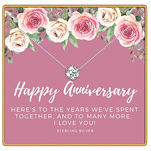 KEDRIAN Happy Anniversary Necklace, 925 Sterling Silver, Anniversary Gifts For Her, Wife Gifts, Pendant Necklaces Anniversary Gift For Women, Wedding Anniversary Jewelry