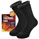 Thermal Slipper Socks Mens, Busy Socks Womens Winter Crew Full Cushion Insulated Heated Extra Thick Warm Fuzzy Cozy Trapping Ski Hiking Skating Athletic Socks for Outdoor Activities 1 Pair Black