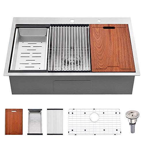 33 Kitchen Sink Drop In Stainless Steel -Bokaiya Kitchen Sink 33x22 Drop In Single Bowl Topmount Kitchen Sink...