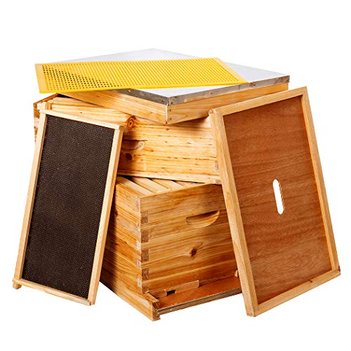 10-Frames Complete Beehive Kit, Wax Coated Bee...