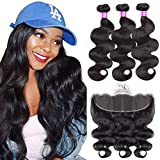 Body Wave Human Hair Bundles With Frontal (18 20 22+16) 13x4 Lace Frontal Closure Unprocessed Brazilian Human Hair Bundles with Ear to Ear Bundles With Closure Remy Human Hair Weave