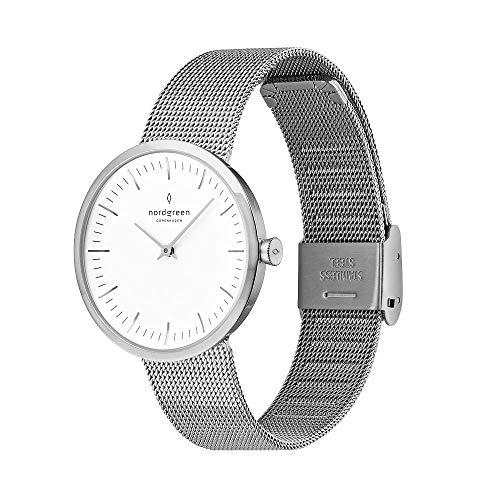 Nordgreen Infinity skandinavische Herrenuhr in Silber mit weißem Ziffernblatt und austauschbarem 40mm Mesh Armband Silber 10084
