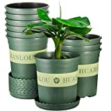 Flower Pot, ZOUTOG 1 Gallon Pots for Plants, Nursery Pots with Drainage Hole and Tray, Pack of 10, Plants not Included, Green