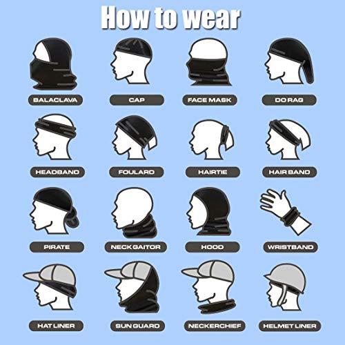 [6 Pack] Unisex Sun UV Protection Face Bandana, Reusable Cloth Half Mask Scarf Neck Gaiter Motorcycle Balaclava for Men Women