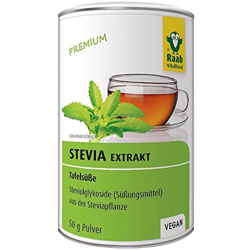 Raab Vitalfood Stevia-Extrakt, leicht zu dosieren, vegan, Tafelsüße, Zucker-Ersatz, Süßungsmittel, Steviaglycoside aus der Steviapflanze, 1er Pack (50 g Dose)