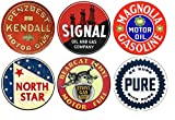 Brotherhood Vintage Gas Sign Reproduction Vintage Metal Signs Round Metal Tin Sign for Garage and Home 8 Inch Diameter – 6 Piece Package Penzbest Kendall Motor Oils