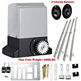 Cozyel Automatic Sliding Gate Opener Hardware Sliding Driveway Security Kit Sliding Gate Opener with Infrared Sensor, Remote Control and 4M Gear Rack,12mm thickness (2600LBS)
