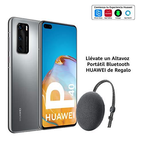 "Huawei P40 5G - Smartphone de 6,1"" OLED (8GB RAM + 128GB ROM, Triple Cámara Leica de 50MP (50+16+8MP) con visión nocturna, chip Kirin 990 5G, 3800 mAh, carga rápida, EMUI 10 HMS) Plata + altavoz CM51"